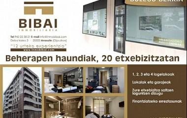 Bibai inmobiliaria, Diseño de imagen corporativa, rotulación y anuncio (Arrasate)
